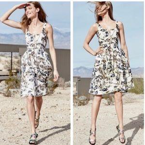 J. Crew linen metallic floral zip up dress